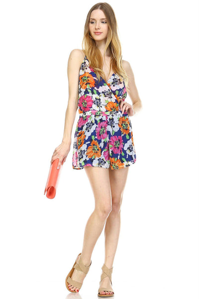 Women's Floral V-Neck Open Back Romper
