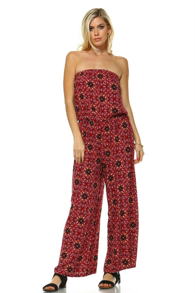 Women's Printed Woven Strapless Jumpsuit