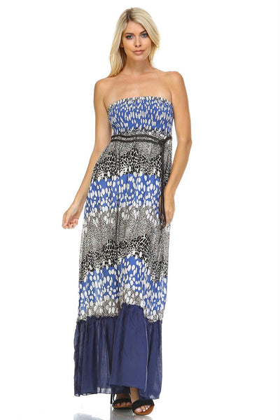 Women's Animal Print Strapless Smocked Maxi Dress w/Belt