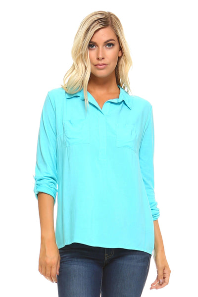 Women's Knit to Woven Button-Front Top