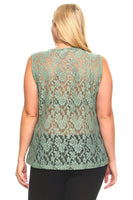 Women's Plus Size Sleeveless Top With Lace Detail and Ruffled Tie-Up Front