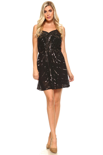 Women's Short Sweetheart Sequinned Dress with Racer Back