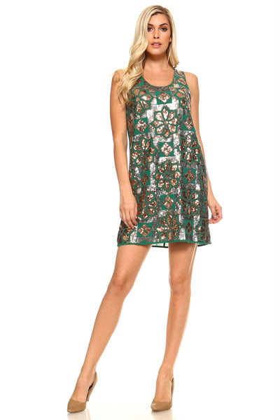Women's Printed Sequinned Accent Dress