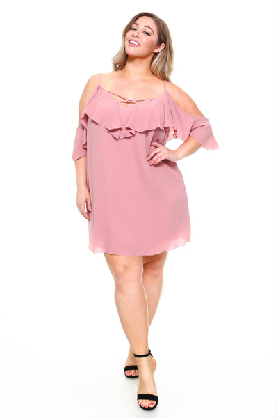 MM3543X - Women's Plus Size 3/4 Ruffle Cold Shoulder Dress