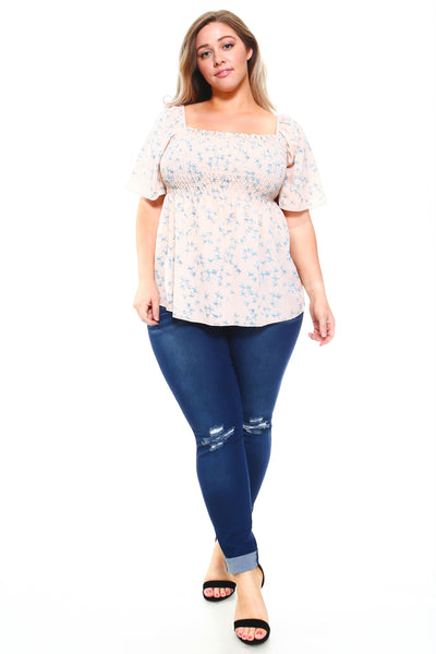 MM5589X - Women's Plus Size Floral Smocked Elastic Top