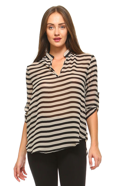 Women's V-Neck Buttonless Blouse Top