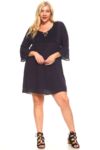 Women's Plus Size 3/4 Three Quarter Sleeve Crochet Tie Dress