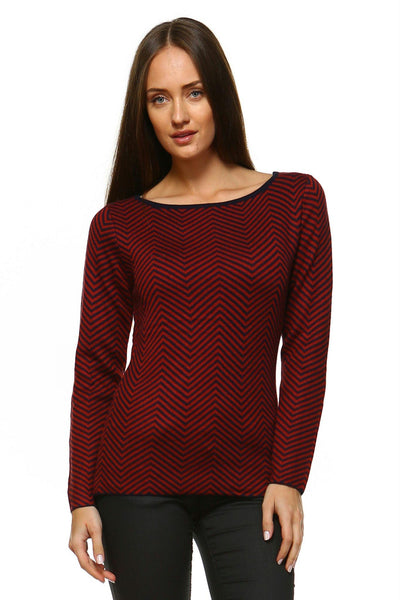 Women's Wide Neck Stripe Sweater