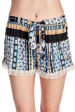 Women's Printed Rayon Shorts with Scallop Lace Trim