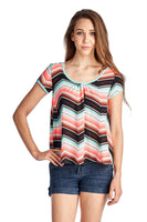 Women's Short Sleeve Shirred Front Top with Bow Back Detail
