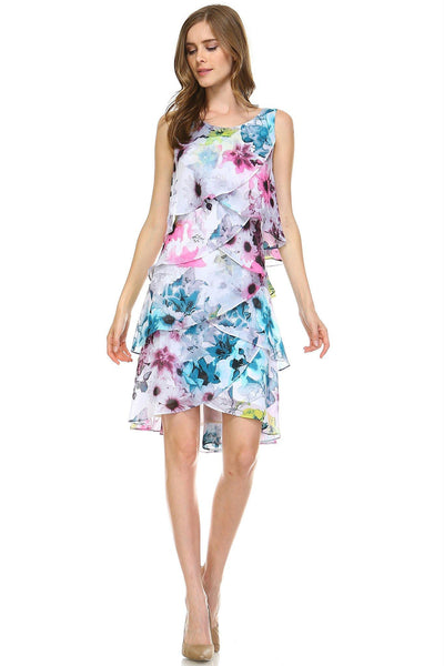 Women's Layered Chiffon Floral Dress