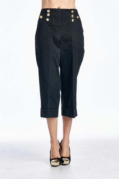 Larry Levine Hemmed Capris with Button Detail