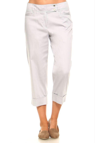 Women's Larry Levine Capri Pants with Silver Finishes and Cuffed Bottom