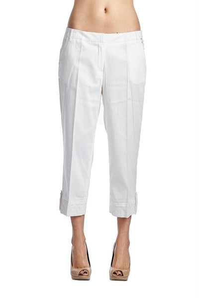 Larry Levine White Stretch Capris