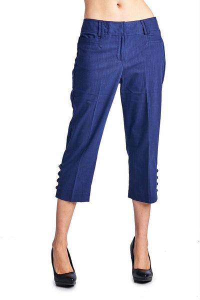 Larry Levine Ocean Blue Stretch Capris