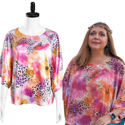 Tiger King Carole Baskin Halloween Carnival Suit Cosplay Costume Top O-Neck Shirt