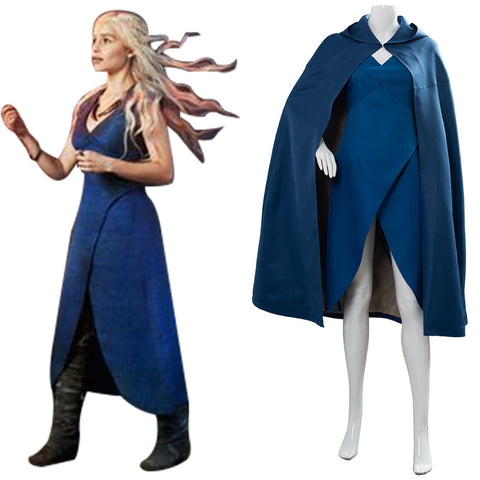 Game of Thrones Daenerys Targaryen Cosplay Dress Cape Costume