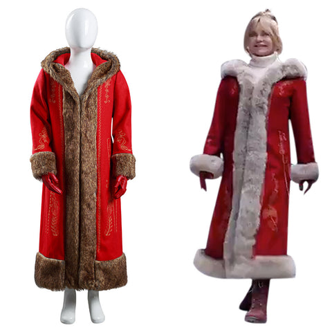 The Christmas Chronicles 2 Mrs. Claus Halloween Carnival Suit Cosplay Costume Kids Children Coat Gloves Outfits
