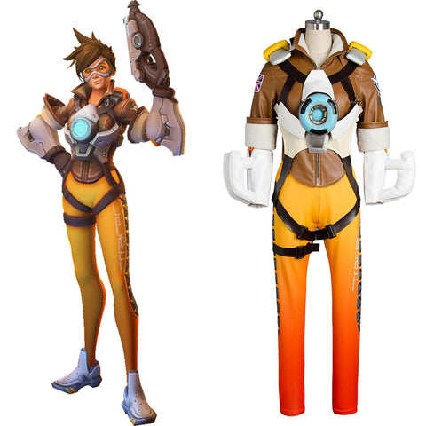 Overwatch OW Tracer Lena Oxton Outfit Battle Suit Cosplay Costume