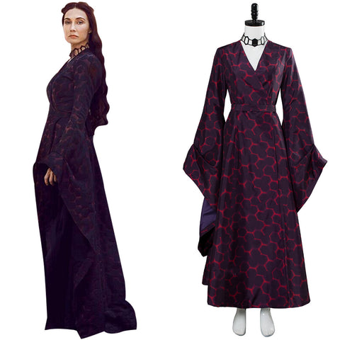 Game of Thrones Season 8 Melisandre Red Hexagon Dress Dark Gown Cosplay Costume