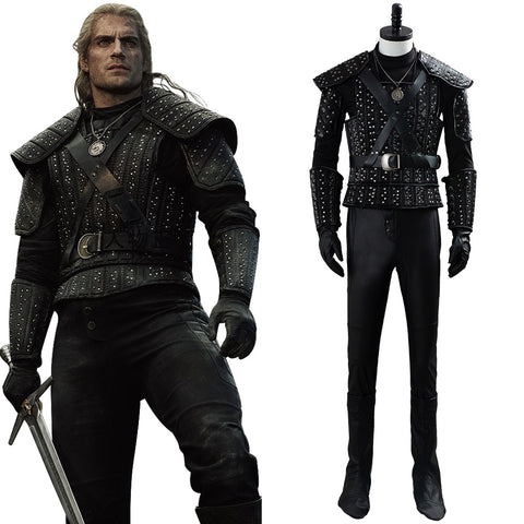 The Witcher Cavill Geralt Costume Uniform TV Show Cosplay Costume