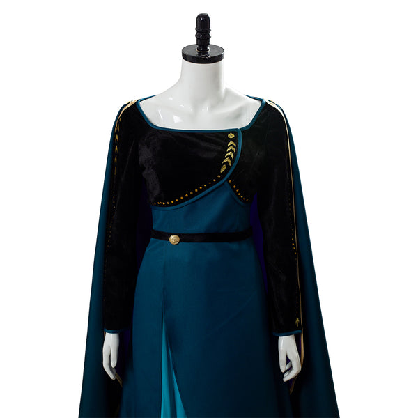 Queen Frozen 2 Gown Anna Coronation Dark Green Outfit Cosplay Costume