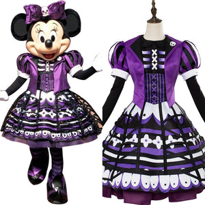Minnie Mouse Outfit Dress Halloween Cosplay Costume Purple
