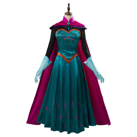 Movie Frozen Elsa Queen Costume Women Dress Outfit Cosplay Costume Halloween Carnival Costume