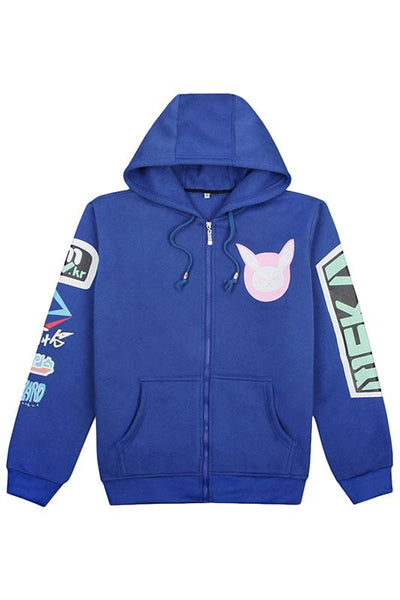 Overwatch D.va Song hana fleece zip-up Hoodie hooded Sweatshirt Blue