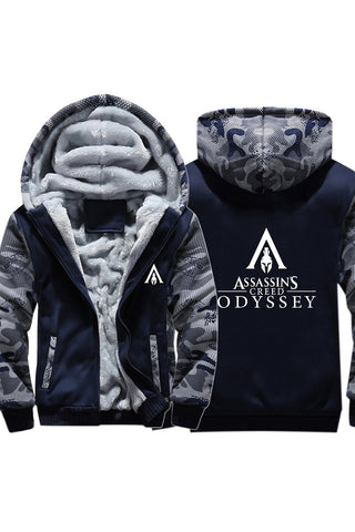 Teen Thick Winter Hoodie Assassin's Creed Odyssey Camouflage Zip Up Sweatshirt