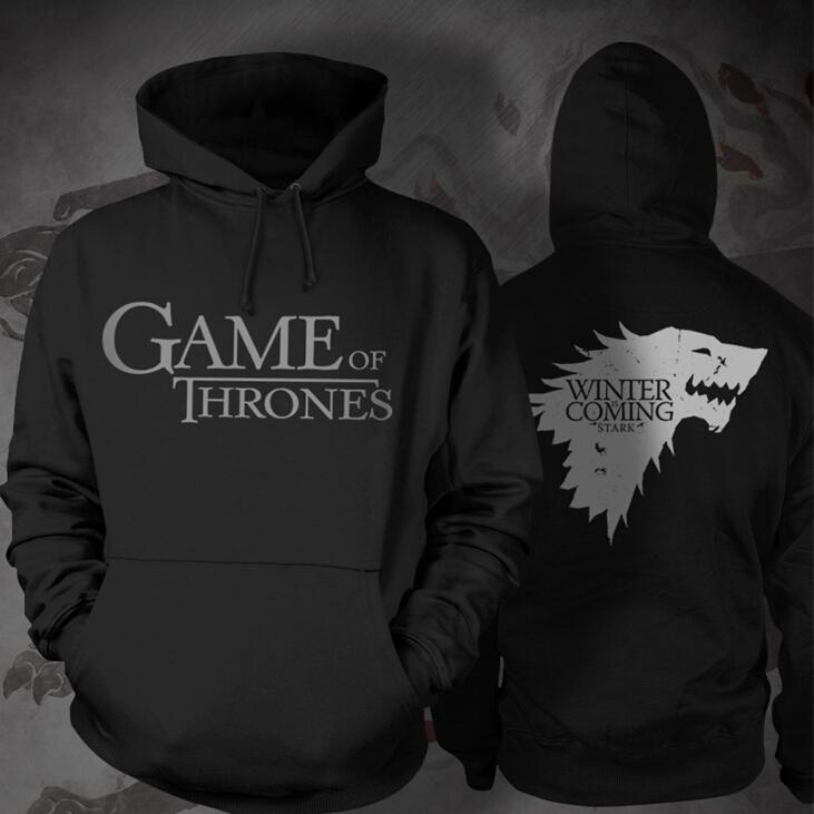 Game of Thrones Stark Black Hooded T-shirt Costume(Free Ship)