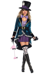 Alice in Wonderland Mad Hatter Magician Cosplay Costume For Females