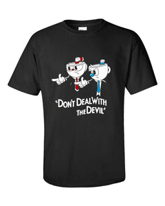 Cup Head Don't Deal with the Devil Black T-shirt (Free Ship )