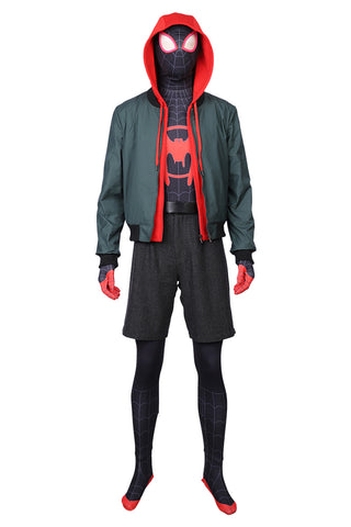 Spider-Man: Into the Spider-Verse Miles Morales Shorts+Jacket+hoodie Cosplay Costume