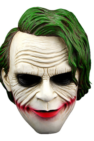 Joker Mask Green Hair Clown Mask Halloween Villain Cosplay Props