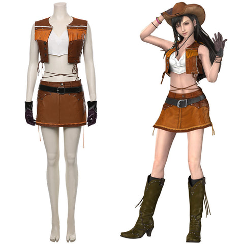 Final Fantasy VII Remake Tifa Lockhart Cosplay Costume The Cowboy Suit Halloween Carnival Costume