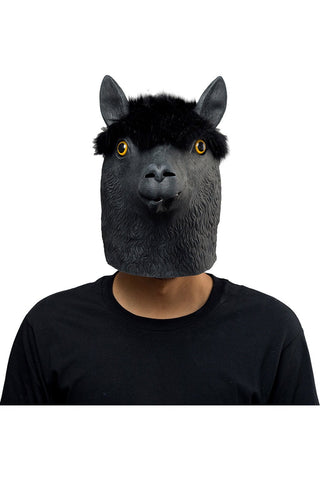 Black Alpaca Mask Halloween Animal Latex Masks Full Face Mask Adult Cosplay Props