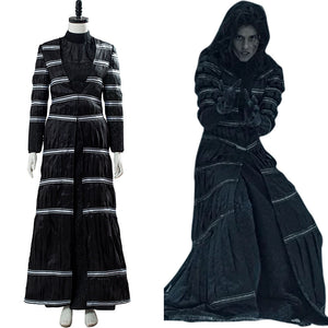 The Witcher Stripe Coat Black Thin Blouse Trousers Set Yennefer of Vengerberg Cosplay Costume