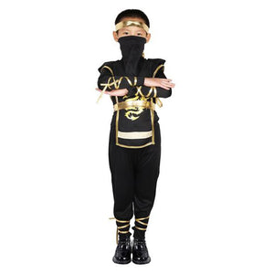 Kids Ninja Costume Boys Japanese Warrior Outfit Halloween Bodysuit Outfit Black