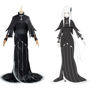 Re:Life in a different world from zero Echidna/Ekidona Halloween Carnival Costume Cosplay Costume Black Dress Outfit