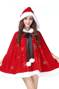 Christmas Red Little Red Hood Mrs Santa Cosplay Costume Adult