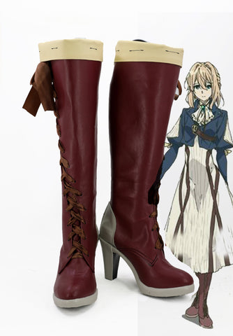 Violet Evergarden Violet Cosplay Shoes Boots Custom Made Red 2