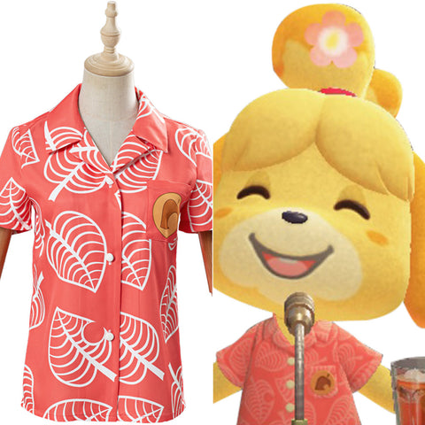 Game Animal Crossing Isabelle Cosplay Costume Women Short Sleeve Shirts Top