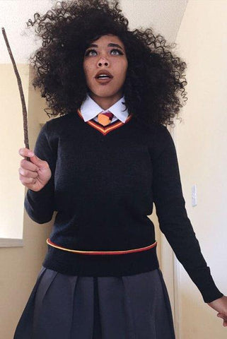 Harry Potter Hermione Granger Cosplay Costume + Magic Wand + Gryffindor Scarf