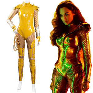 Wonder Woman 1984 Halloween Carnival Costume Cosplay Costume Gold Jumpsuit Battle Suit WW84
