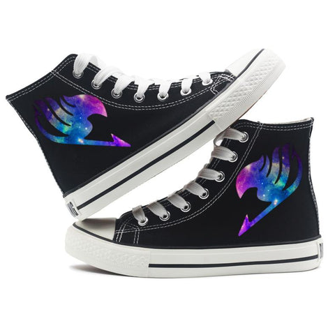 Fairy Tail Anime Logo Black Canvas Shoes Sneakes Cosplay Shoes