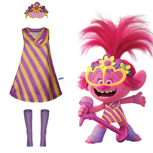 Trolls 2:World Tour-Poppy Halloween Carnival Costume Cosplay Costume Adult Women Dress Outfit