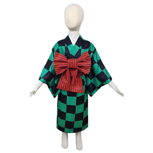 Demon Slayer Kamado Tanjirou Halloween Carnival Costume Cosplay Costume Kids Kimono Outfits
