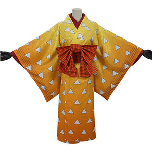 Demon Slayer Agatsuma Zenitsu Halloween Carnival Costume Cosplay Costume Women Kimono Outfits