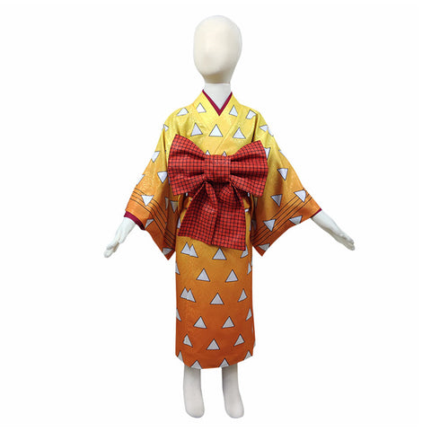 Demon Slayer Agatsuma Zenitsu Halloween Carnival Costume Cosplay Costume Kids Kimono Outfits